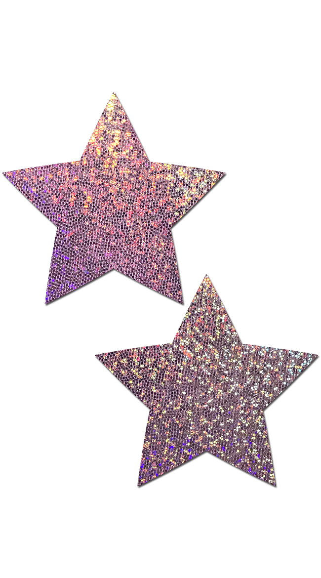 Lilac Glitter Star Pasties by Pastease - sexy lingerie