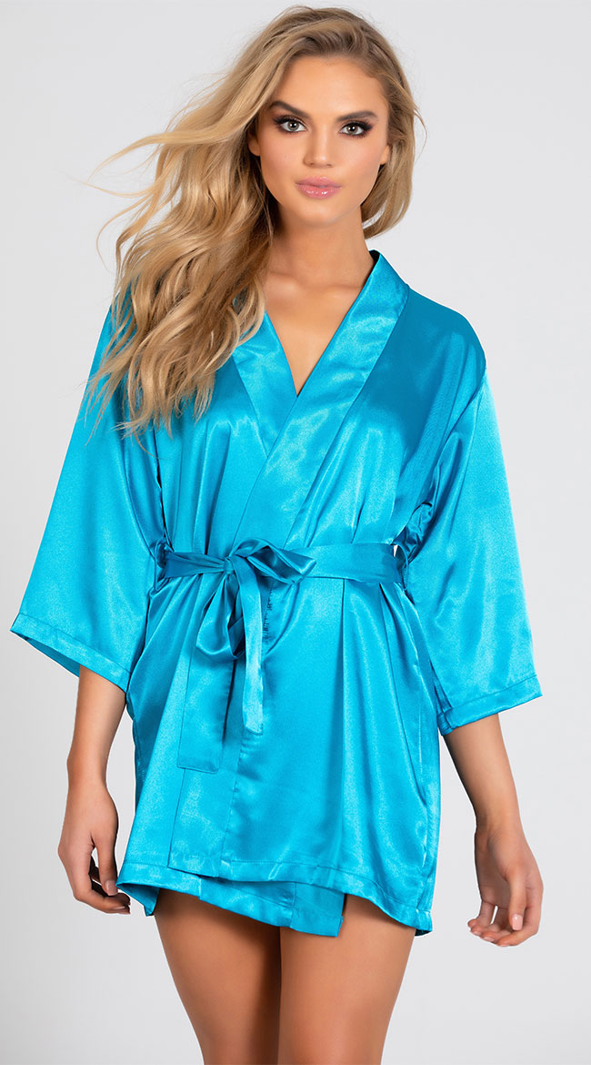 Lip Locked Satin Robe by iCollection