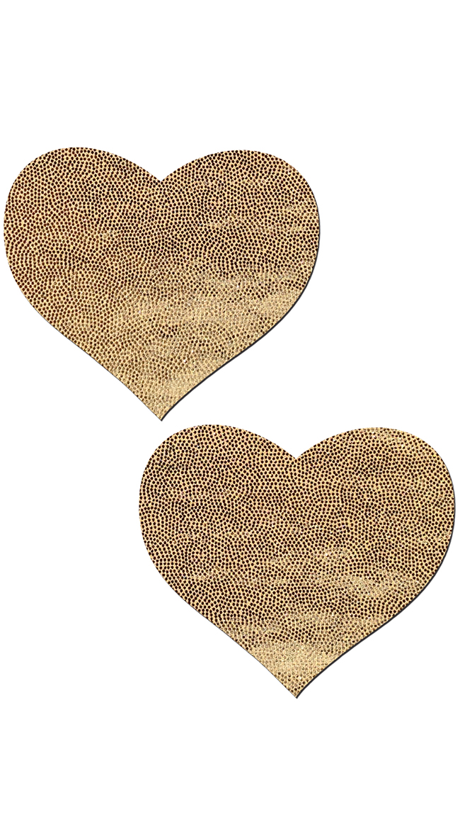 Liquid Gold Heart Pleather Pasties by Pastease / Heart Pasties