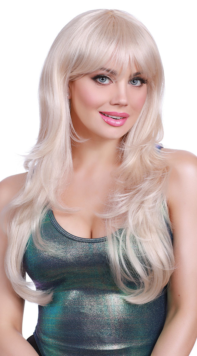 Long Blonde Fringe Wig by Dreamgirl - sexy lingerie