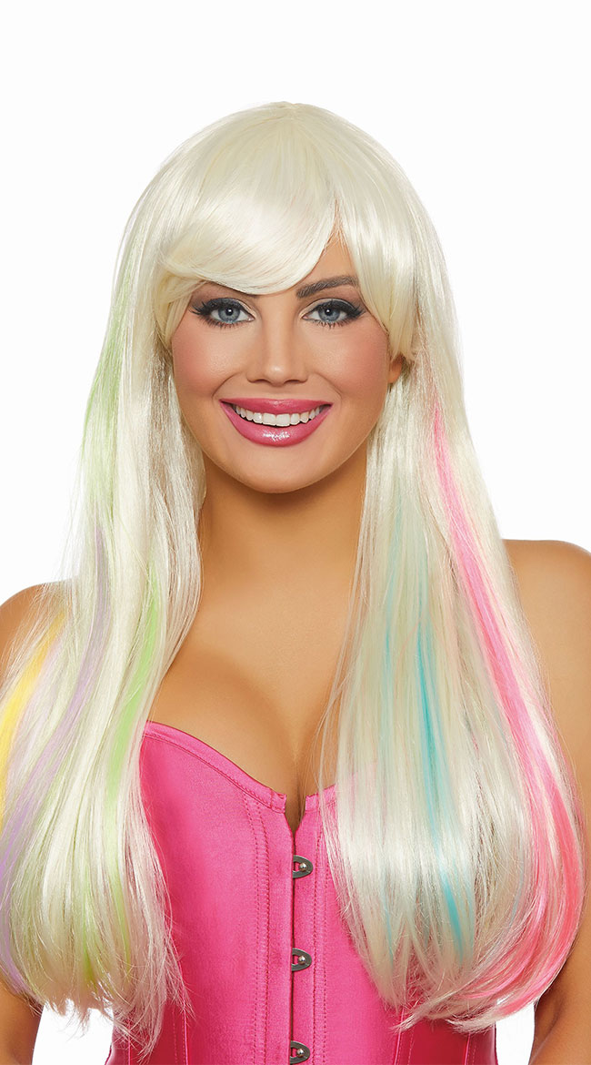 Long Blonde and Rainbow Wig by Dreamgirl - sexy lingerie