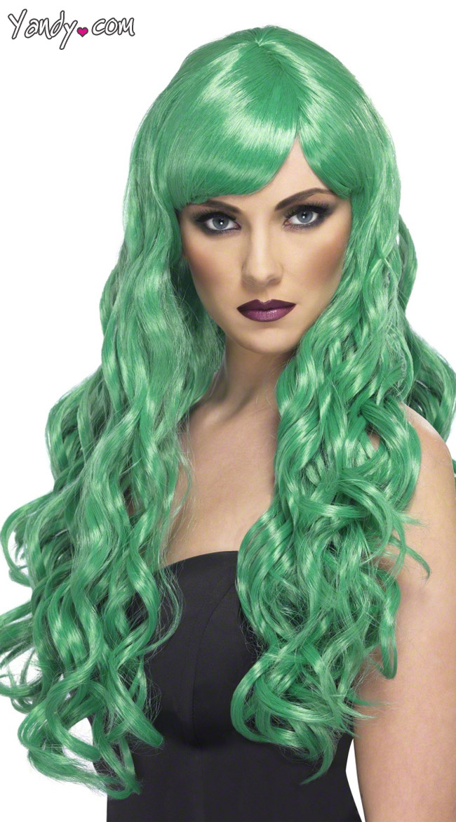 Long Green Curled Wig by Fever / Green Curly Wig