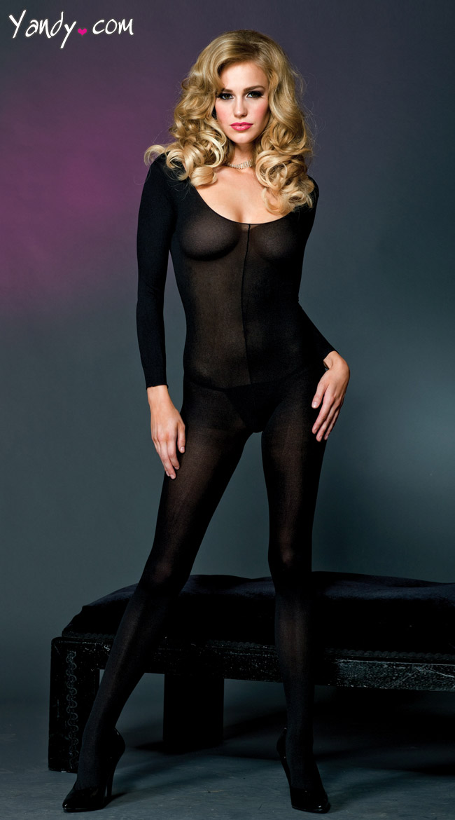 Long Sleeve Opaque Bodystocking by Music Legs