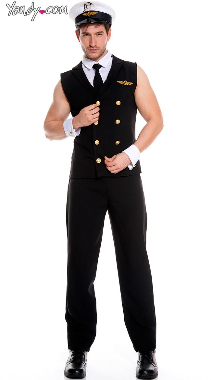 Men's Sexy Sleeveless Pilot Costume by Music Legs