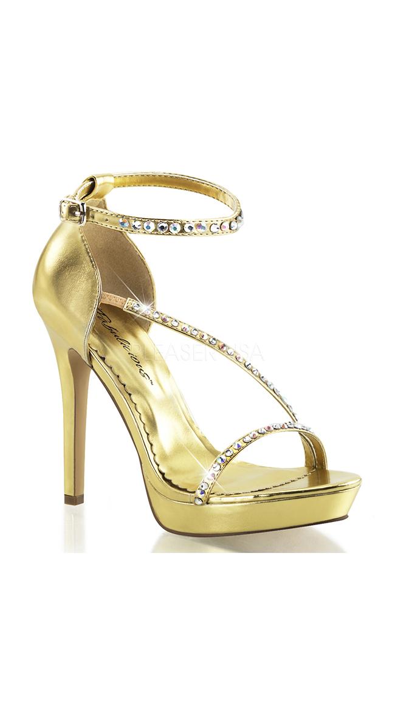 Metallic Rhinestone Strap Sandals by Pleaser