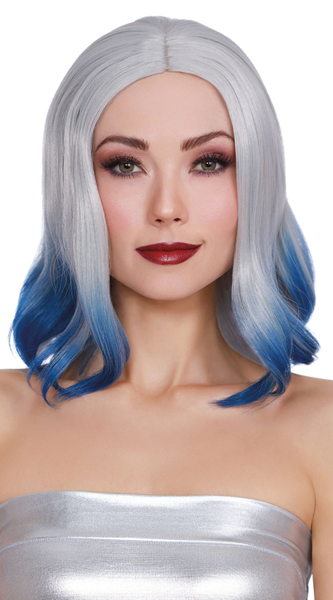 Mid Length Blue Dip Dye Wig by Dreamgirl - sexy lingerie