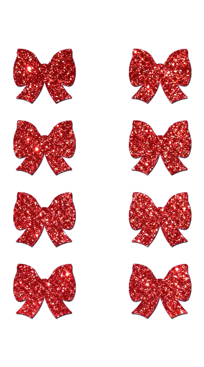 Mini Red Glitter Bow Pasties by Pastease / Red Glitter Pasties