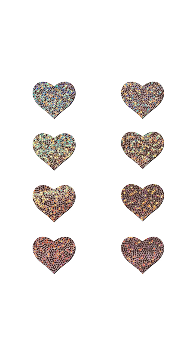 Mini Rose Gold Glitter Heart Pasties by Pastease - sexy lingerie