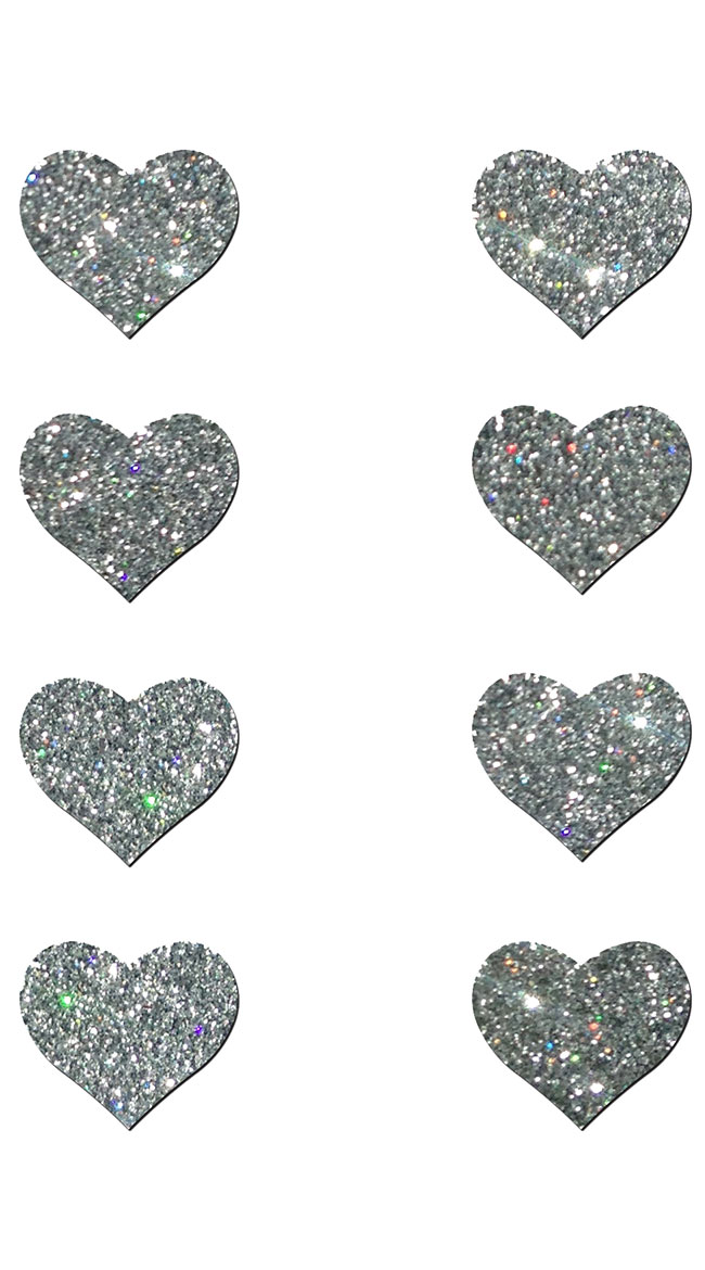 Mini Silver Glitter Heart Pasties by Pastease / Silver Heart Pasties