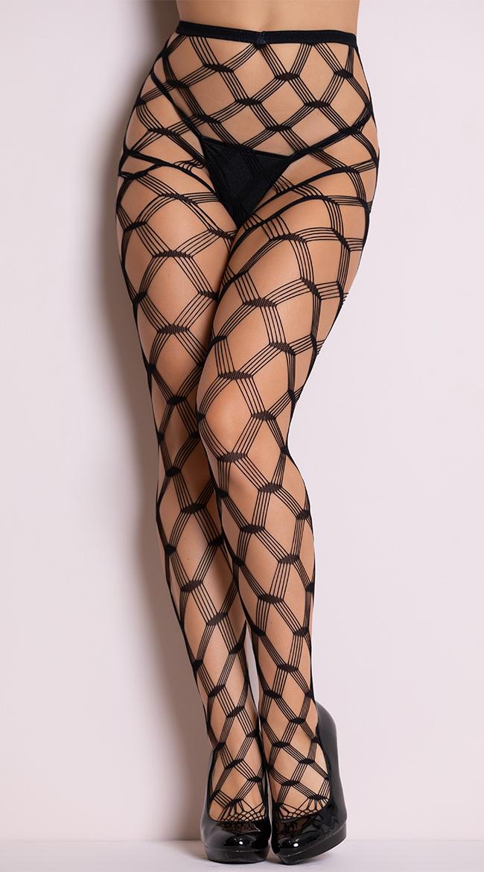Multi Strands Diamond Net Pantyhose by Music Legs