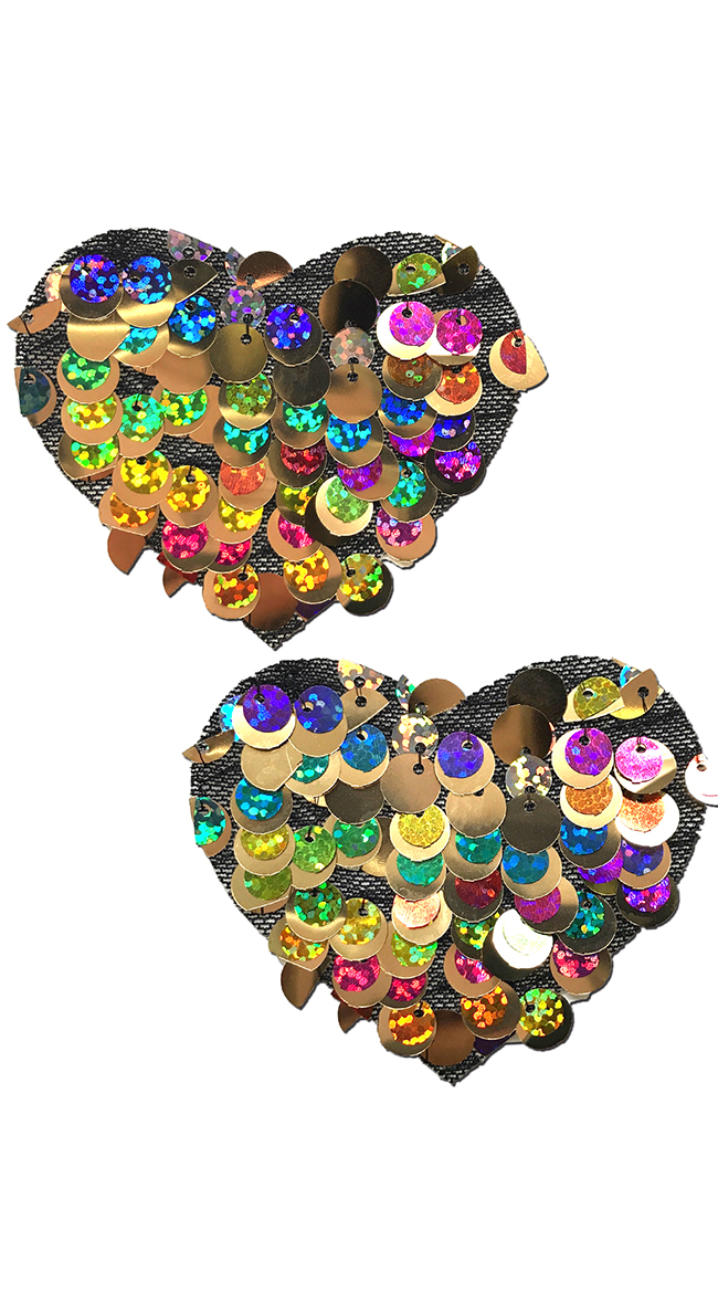 Multicolored Sequin Heart Pasties by Pastease - sexy lingerie