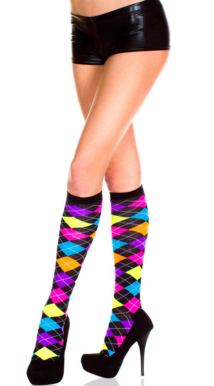 Neon Argyle Knee Highs by Music Legs