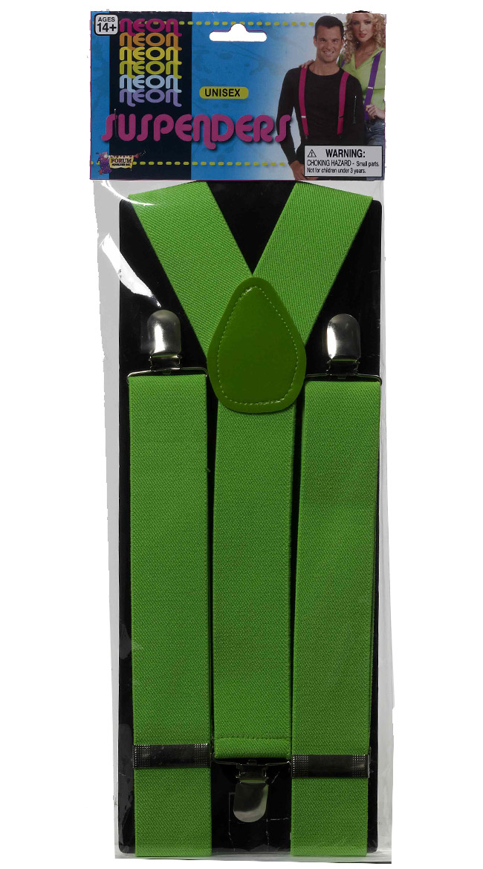 Neon Green Suspenders by Forum Novelties / Green Costume Suspenders