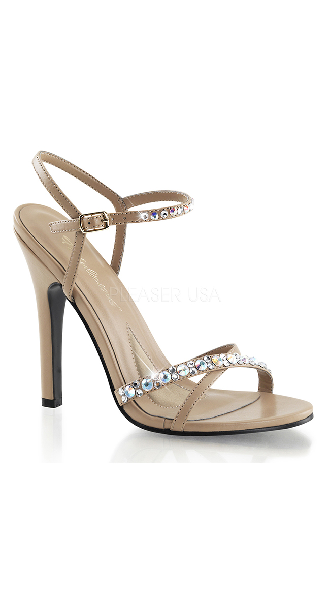 Nude Strappy Sandals with Rhinestones by Pleaser