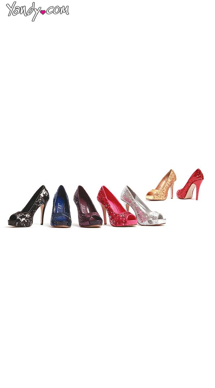 Open Toe Glitter Pumps by Ellie Shoes