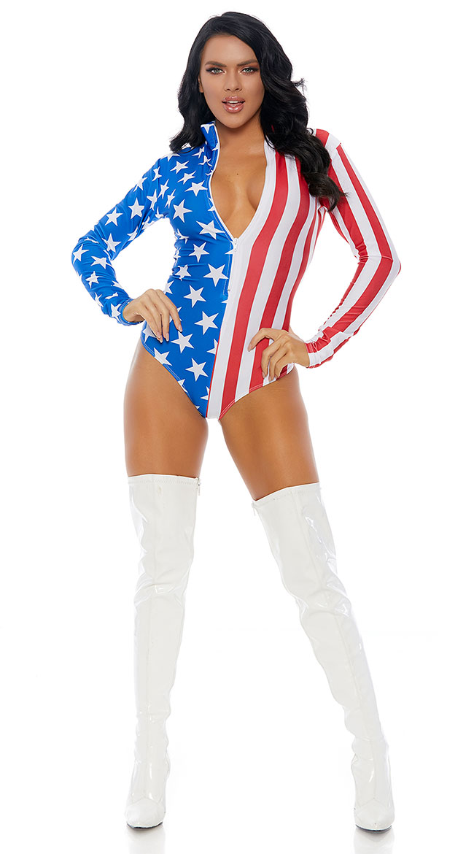 Patriotic Flag Bodysuit by Forplay