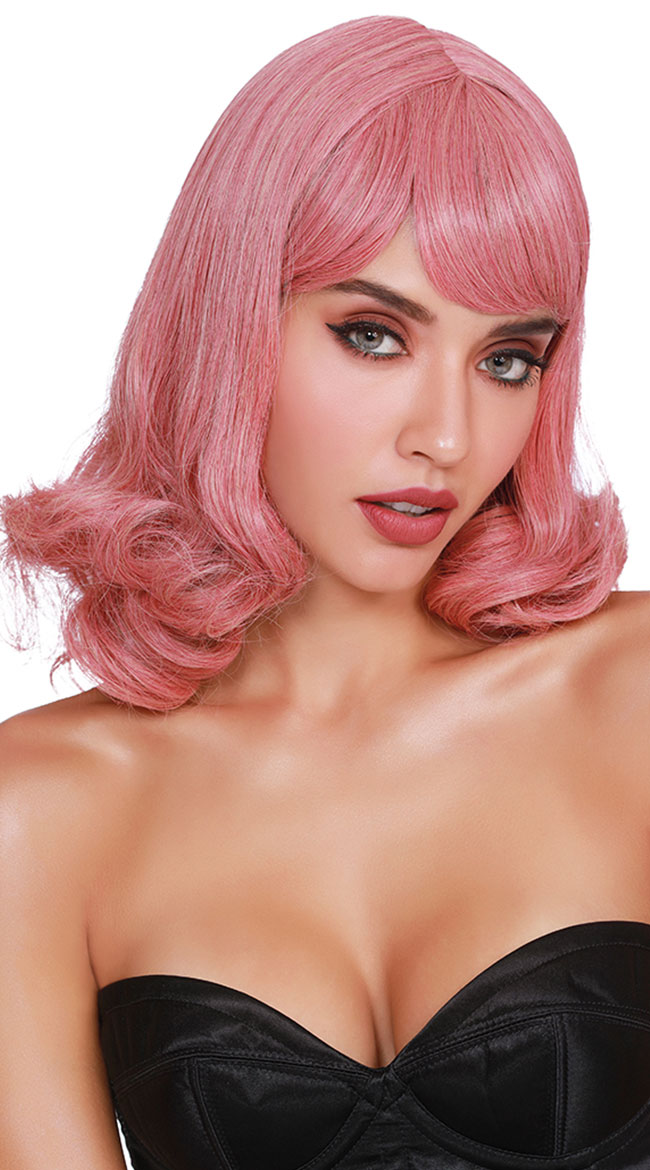 Pink Curly Wig by Dreamgirl - sexy lingerie