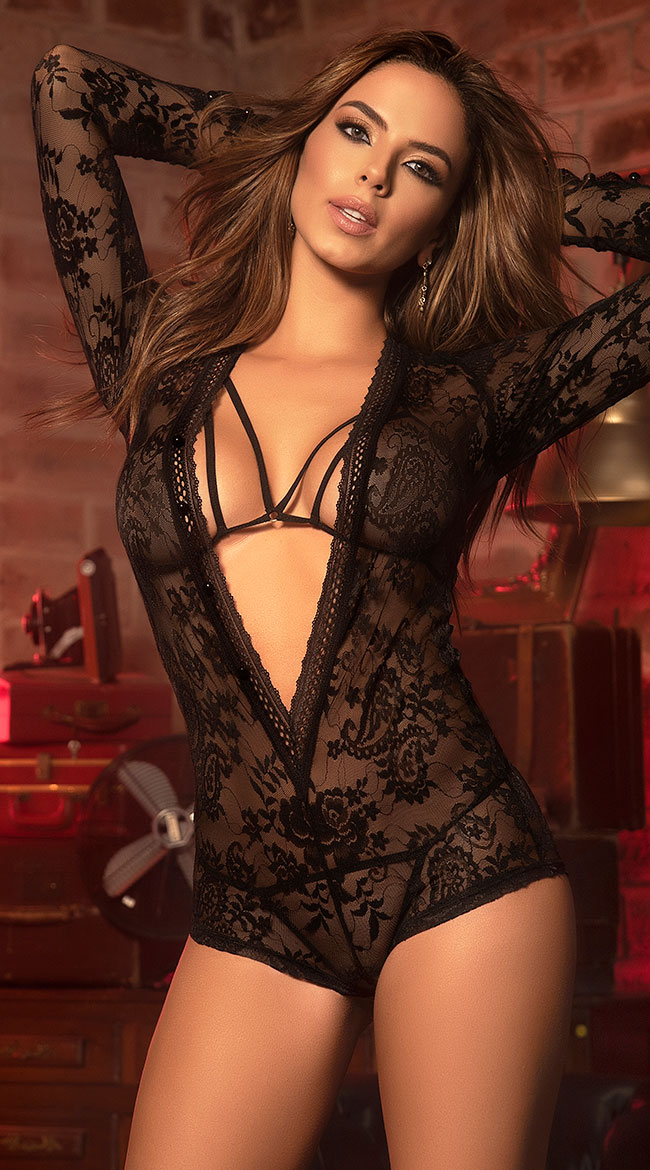 Plunged Perfection Lace Romper Set by Mapale