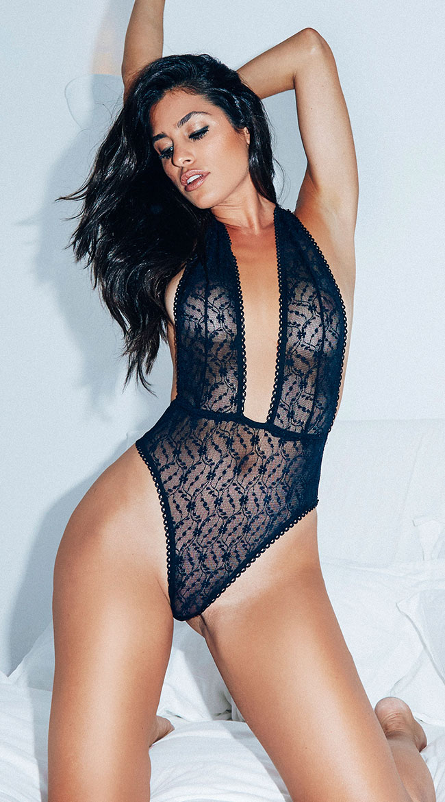 Plunging Sheer Black Teddy by Roma