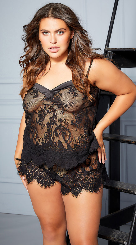 Plus Size Angelina Lace Cami Set by Oh La La Cheri