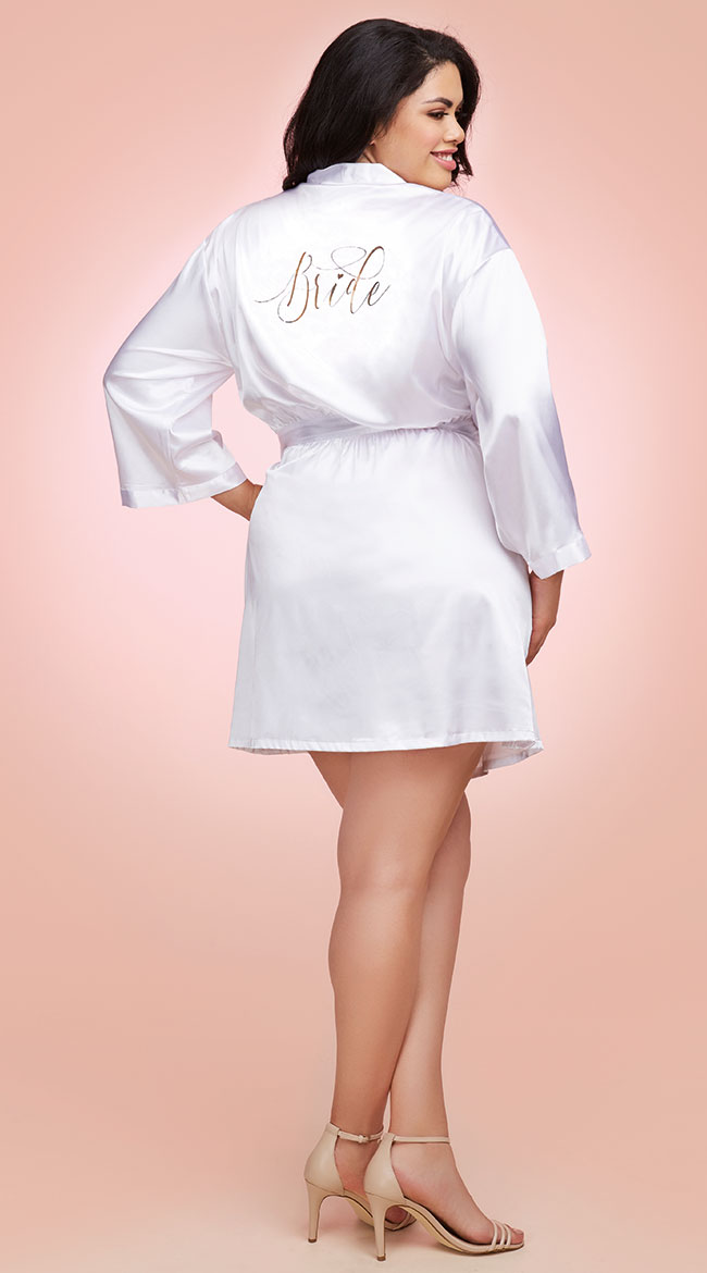 Plus Size Babe-To-Be Satin Robe by Dreamgirl