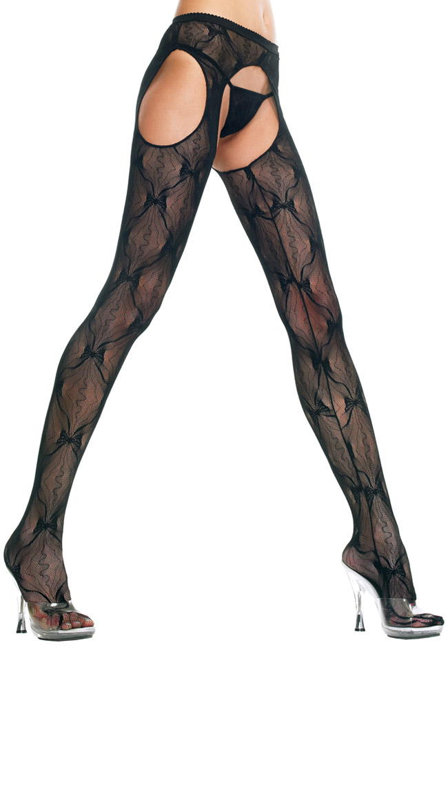 Plus Size Black Bow Lace Suspender Pantyhose by Music Legs