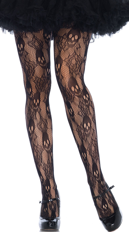 Plus Size Black Rose Skull Lace Pantyhose by Leg Avenue