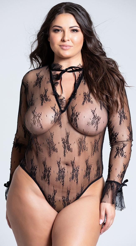 Plus Size Black Sheer Elegance Teddy by Roma