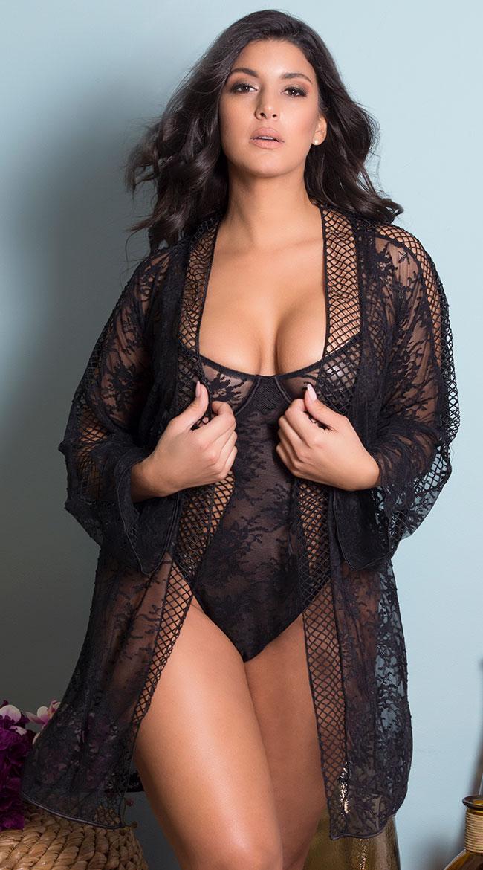 Plus Size Chantal Lace and Fishnet Robe by Oh La La Cheri