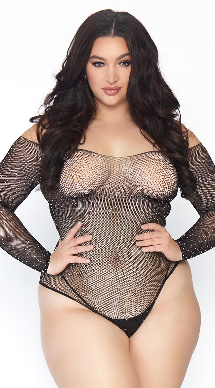 Plus Size Crystallized Fishnet Bodysuit by Leg Avenue