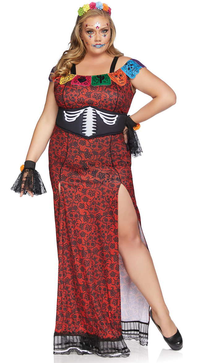 Plus Size Day Of The Dead Beauty Costume by Leg Avenue
