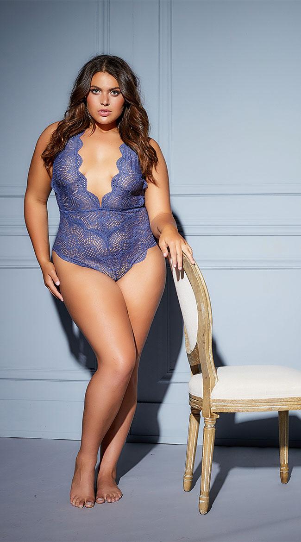Plus Size Desiree Striped Lace Plunge Teddy by Oh La La Cheri
