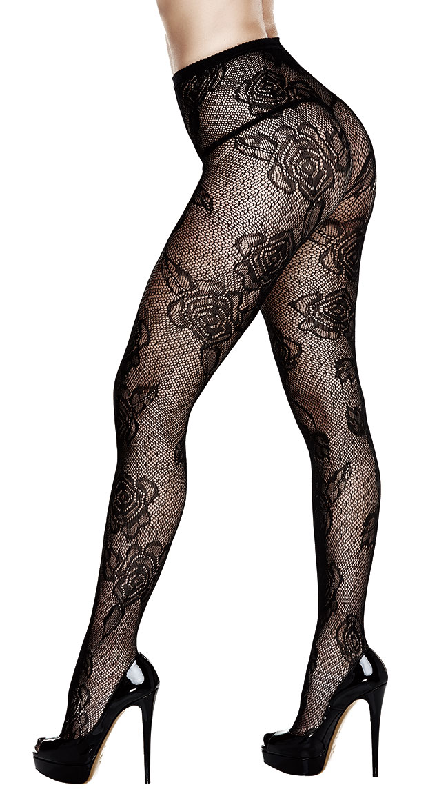 Plus Size Diamond and Floral Pantyhose by Baci