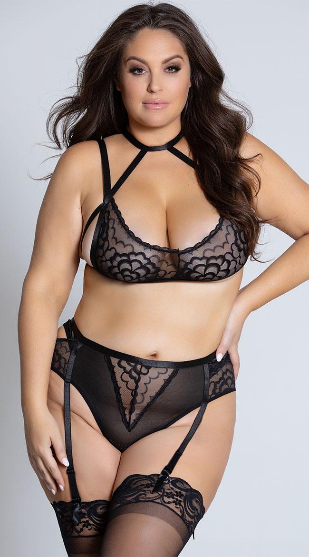 Plus Size Harnessed in Lace Bra Set by Oh La La Cheri