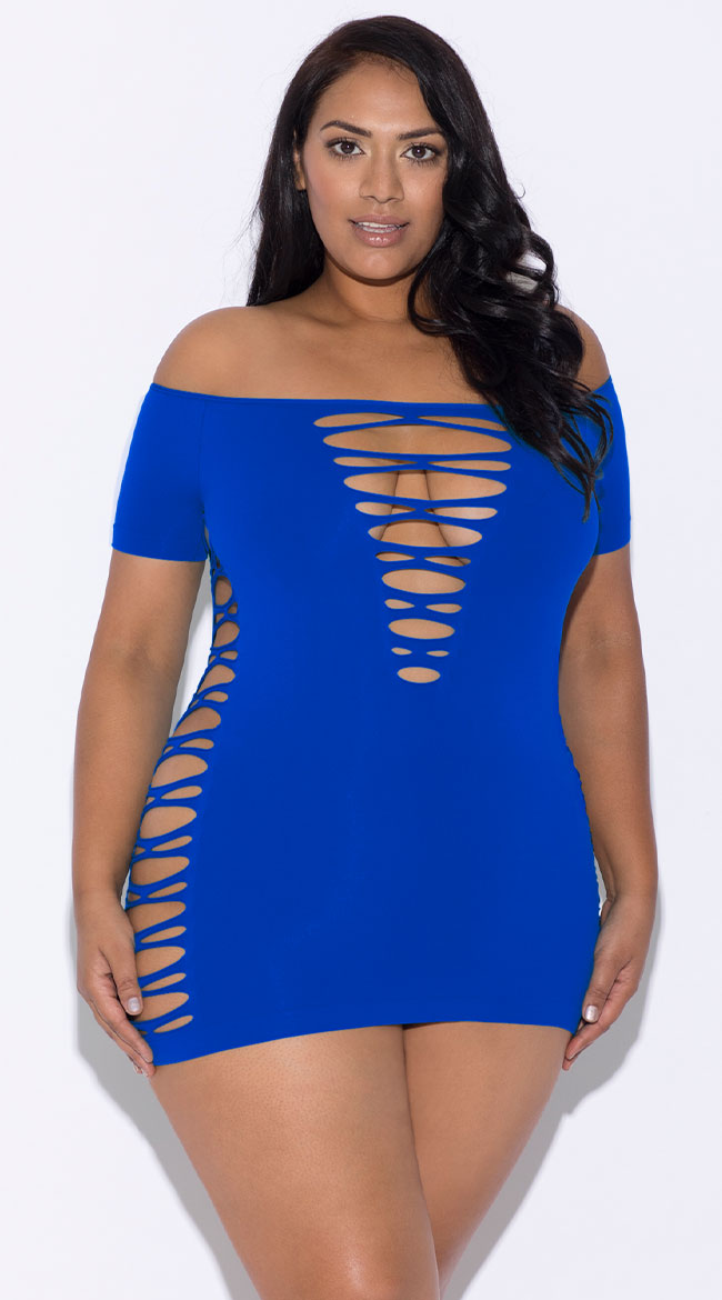 Plus Size Off Shoulder Seamless Chemise by Glitter