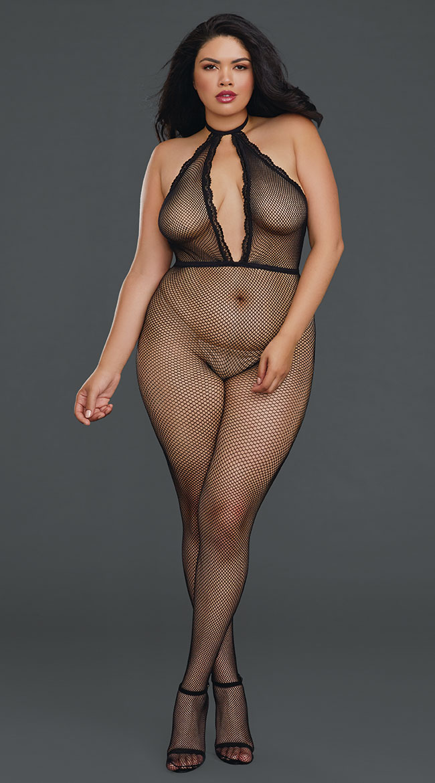Plus Size Pretty Please Mesh Bodystocking by Dreamgirl