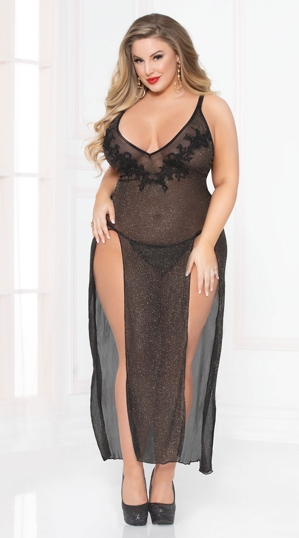 Plus Size Sassy Shimmer Lingerie Gown Set by Seven 'Til Midnight