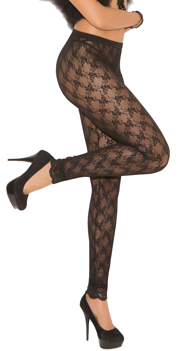 Plus Size Sheer Lace Leggings by Elegant Moments