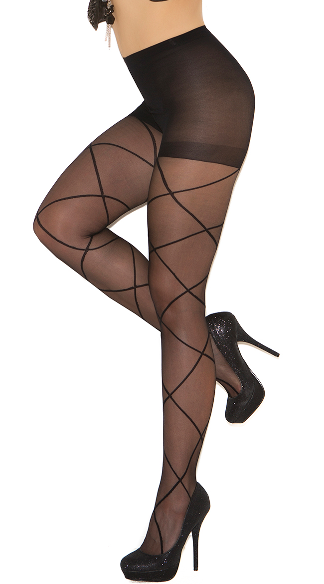 Plus Size Sheer Pantyhose with Criss Cross Detail by Elegant Moments