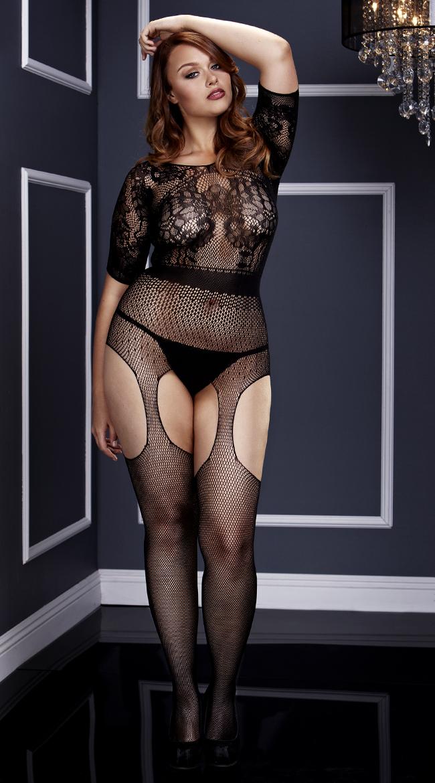 Plus Size Short Sleeve Fishnet Suspender Bodystocking by Baci