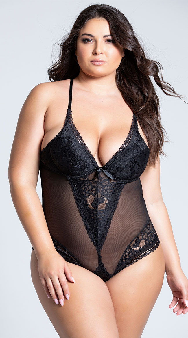 Plus Size Sophisticated Lace and Mesh Teddy by Shirley of Hollywood