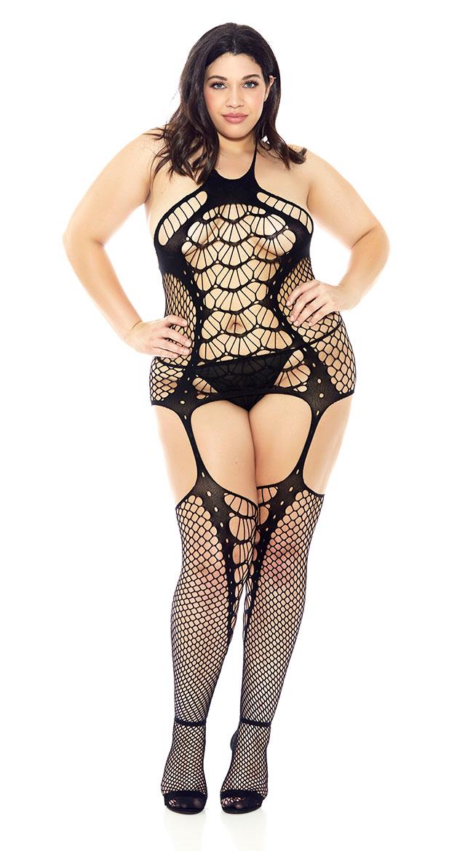 Plus Size Spider Web Fishnet Bodystocking by Glitter