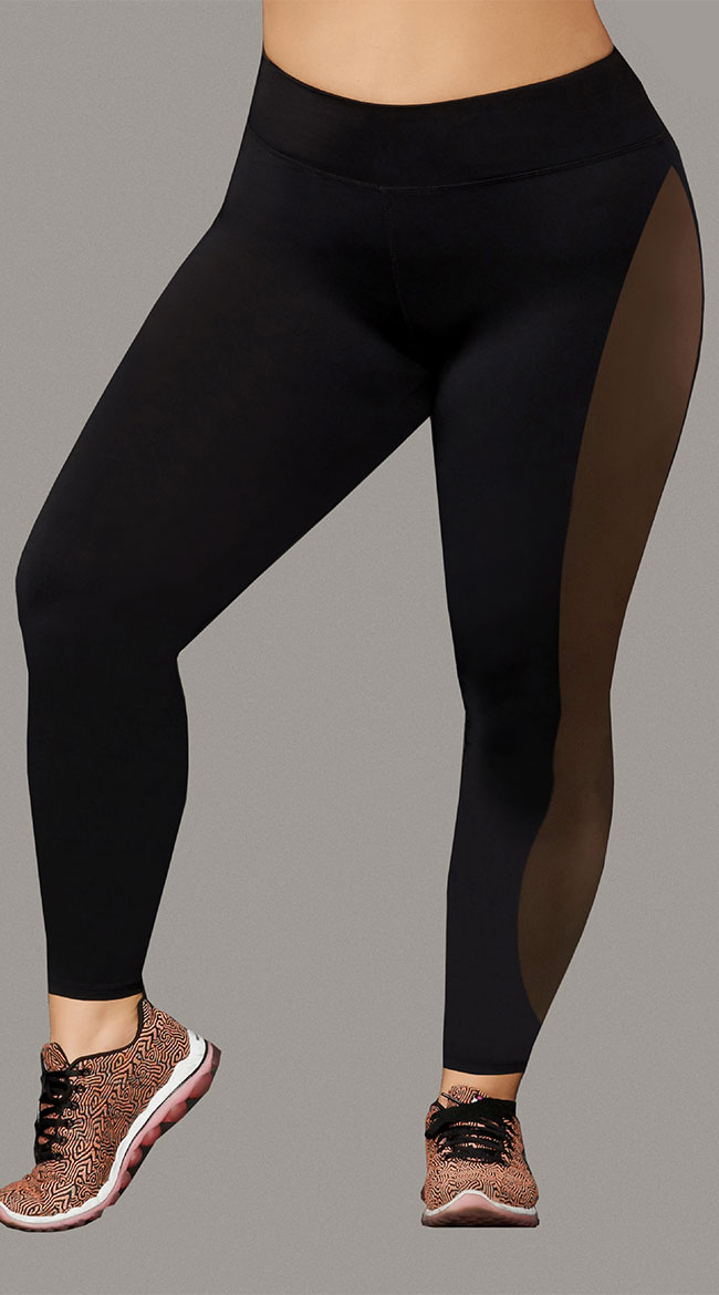 Plus Size Sport Jersey and Mesh Leggings by Seven 'Til Midnight