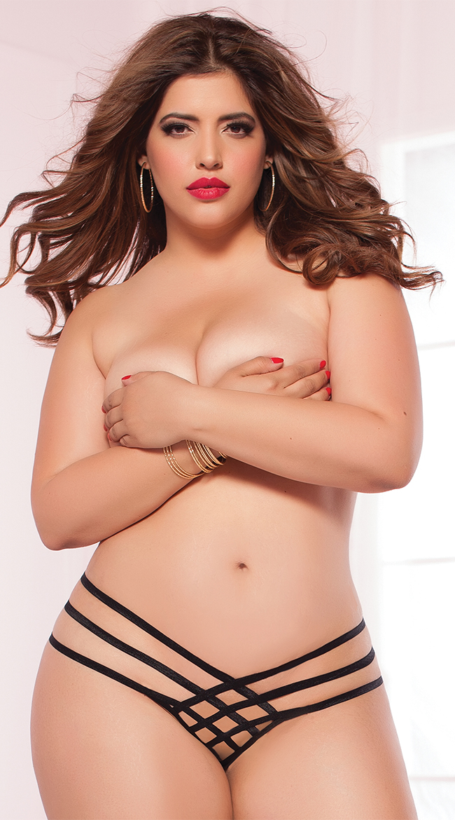 Plus Size Strap Me In Thong by Seven 'Til Midnight