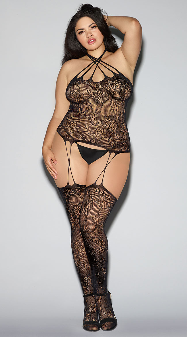 Plus Size Strappy Black Lace Bustier Bodystocking by Dreamgirl