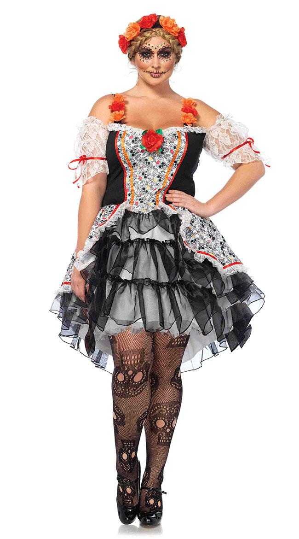 Plus Size Sugar Skull Senorita Costume by Leg Avenue