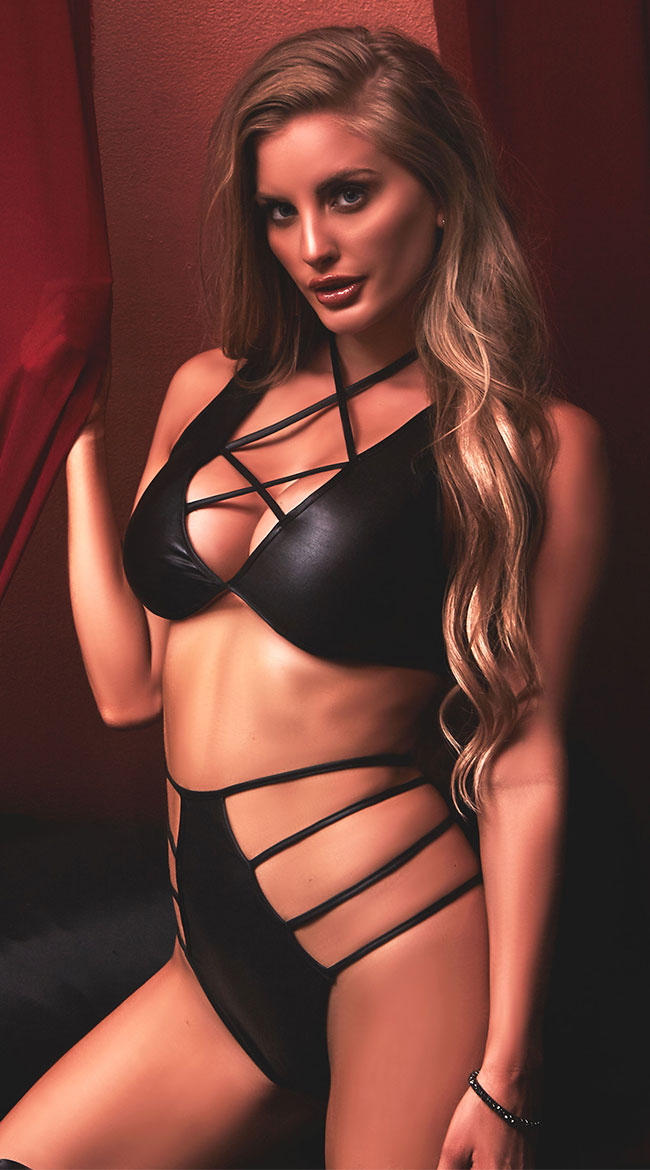 Plus Size Tied and True Pleather Bra Set by Glitter