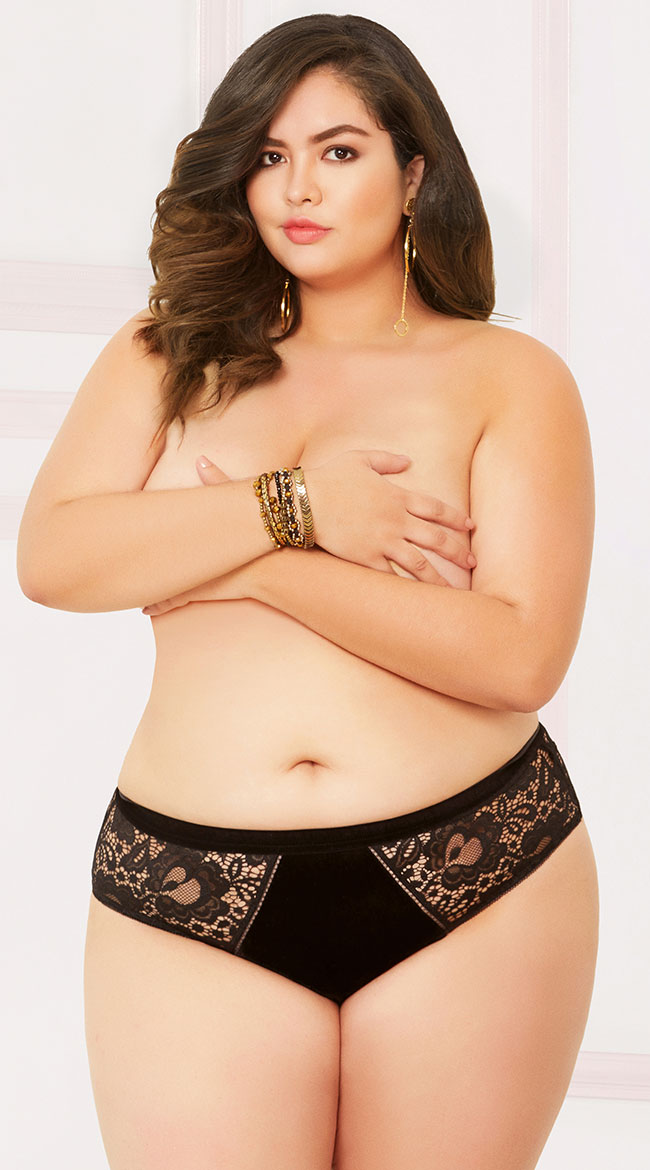 Plus Size Velvet and Lace Cheeky Panty by Seven 'Til Midnight