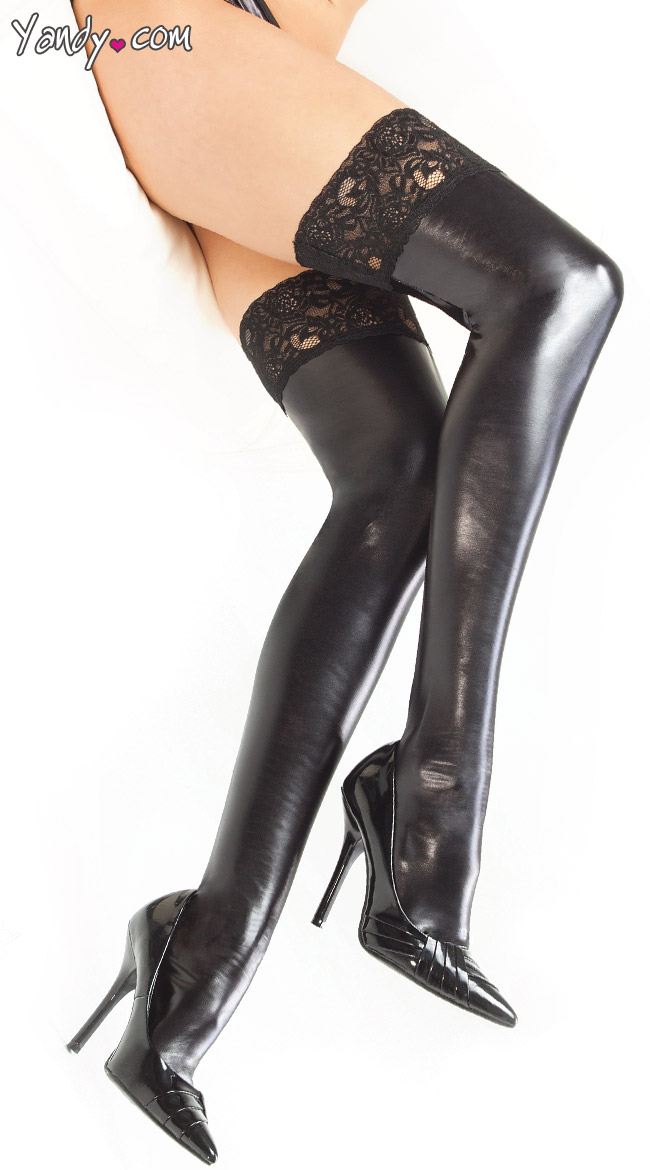 Plus Size Wet Look Thigh Highs with Lace Top by Coquette