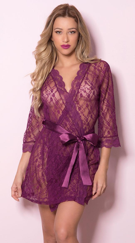 Pretty Scalloped Lace Robe by Oh La La Cheri